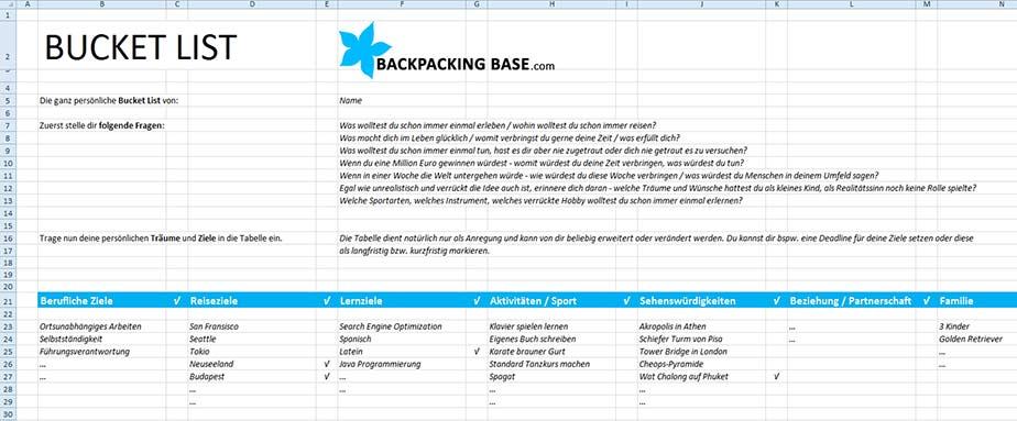 BucketList_Vorlage zum Ausfüllen - Excel und PDF
