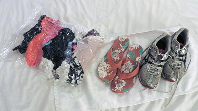 Backpacking Packliste Kleidung komprimiert