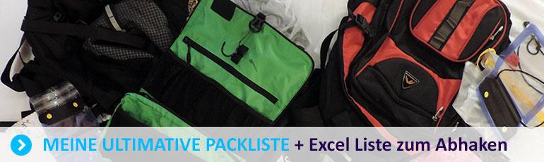 Backpackingbase Packliste, Checkliste, Gepäck, Reise, Backpacking